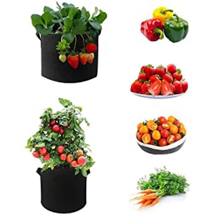 Sac De Culture De Tomates En Tissu Non Tissé Respirant, Épais Et Résistant Pour Jardin-Extérieur - Pour Fleurs, Légumes, Pommes De T