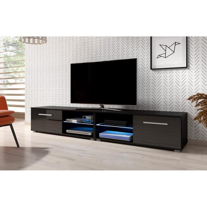 3xeLiving Meuble TV moderniste Punes blanc / gris brillant 200 cm LED