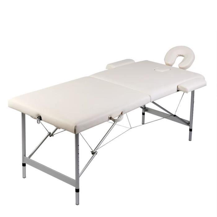 🏩6908 Table pliable de massage - TABLE ESTHETIQUE - TABLE DE SOIN beauté hauteur de 59 cm à 81 cm- Blanc crème 2 zones cadre en alu