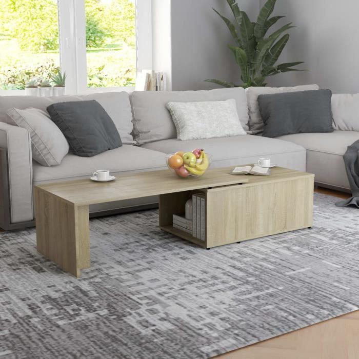 Table basse style Scandinave - Table de salon Table Café Chêne sonoma 150x50x35 cm Aggloméré Parfait #225420
