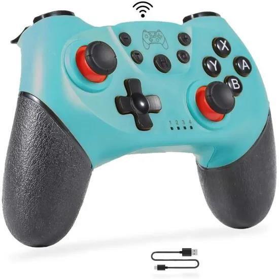 Manette sans Fil pour Switch, Switch Bluetooth Joypad, Manette de Jeu à Fonction Double Vibration,Turbo,Gyroscope-Bleu