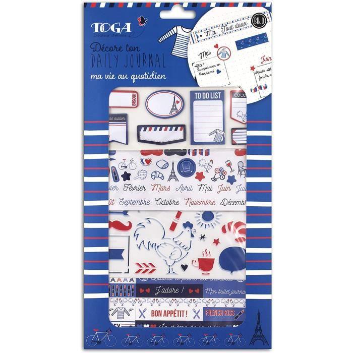 Toga Kit de décoration Bullet Journal - Frenchy, Bleu, Blanc et Rouge, taille unique