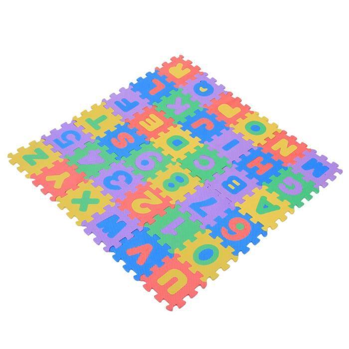 Tapis de jeu en mousse pour enfants, 36 Pcs Chiffres et lettres Puzzle Exercice Tapis de jeu en mousse EVA Plancher doux Tapis de