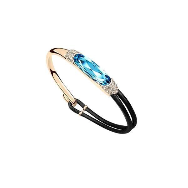Bracelet Cuir et Cristal de Swarovski Elements Bleu