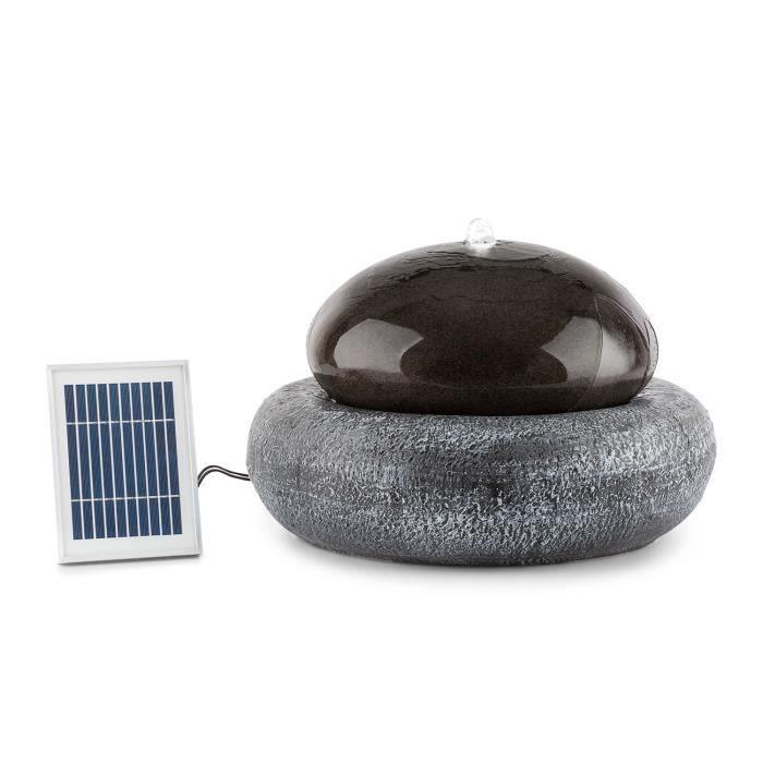 Blumfeldt Ocean Planet Fontaine de jardin avec éclairage LED - alimenation par panneau solaire ou batterie - en polyrésine