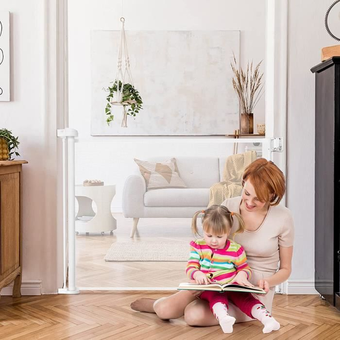 GOPLUS Barrière de Sécurité Rétractable pour Bébés,Animaux Domestiques,Portes d'Escalier Extensible de 0 à 130CM, pour Salon,Balcon