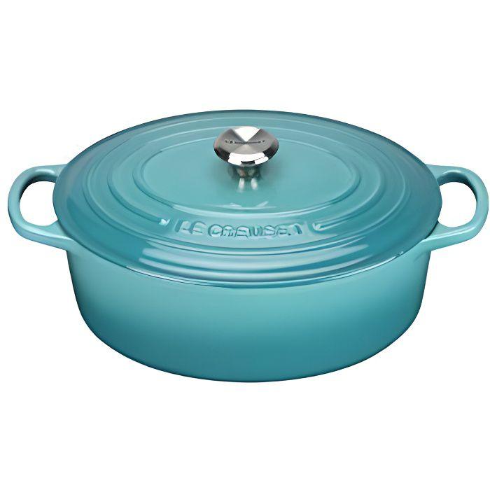 Le Creuset 21178311702430 Signature Cocotte Ovale Fonte Bleu Caraïbe 31 cm