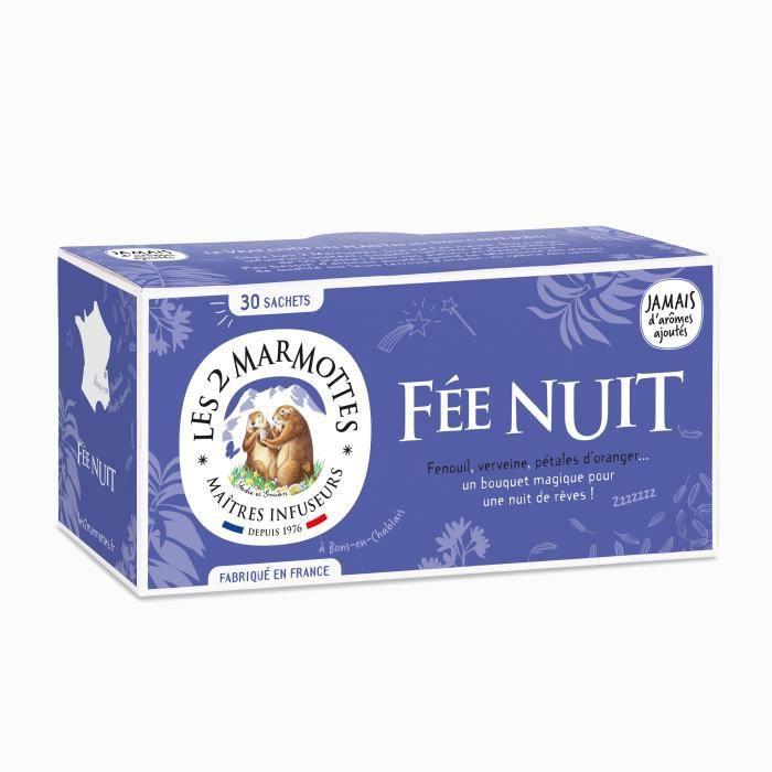 Les 2 Marmottes - Infusion -Fée Nuit- 30 sachets - Fenouil et Verveine - Made In France - Sans arômes ajoutés