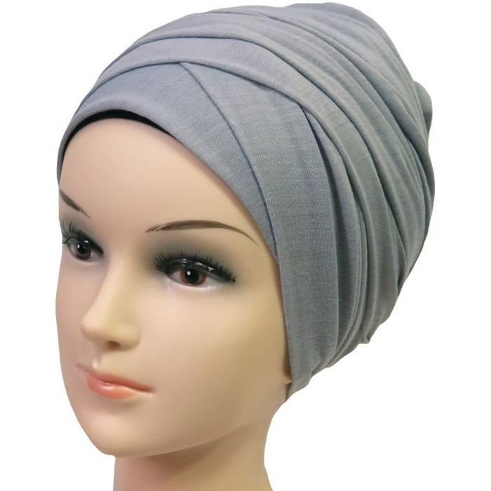 Hijab Femme Foulard Écharpe Turban Châle Islamique, Tissu en Jersey Premium (Gris Clair)