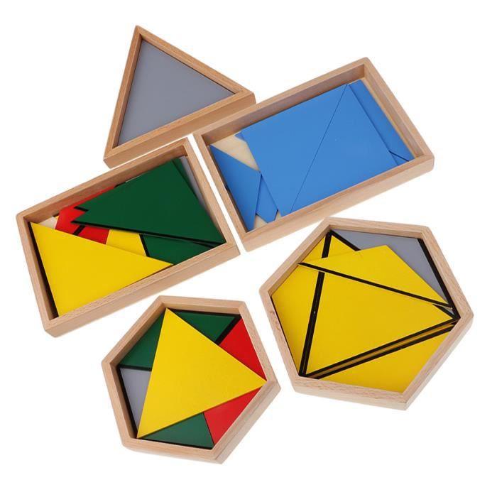 5 Boîte De Jouet De Construction De Puzzle Triangle Contructive Pour Montessori Apprendre
