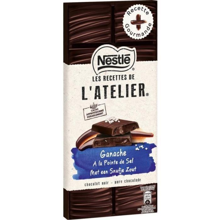 Nestlé Les Recettes de l'Atelier Ganache à la Pointe de Sel Chocolat Noir 150g (lot de 8)