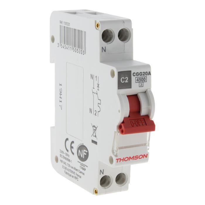 THOMSON Disjoncteur à vis PH+N - 2A NF - Pouvoir de coupure 4.5KA