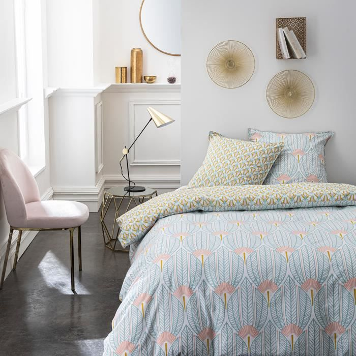 Parure de lit 2 personnes 240X260 Coton imprime bleu Art deco SUNSHINE