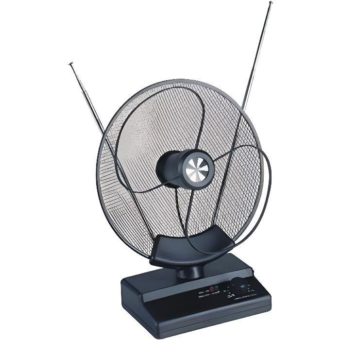ANTENNE PARABOLIQUE TNT TV TELE TELEVISION INTERIEUR AMPLIFIEE 32dB VHF UHF  FM - antenne rateau, avis et prix pas cher - Cdiscount
