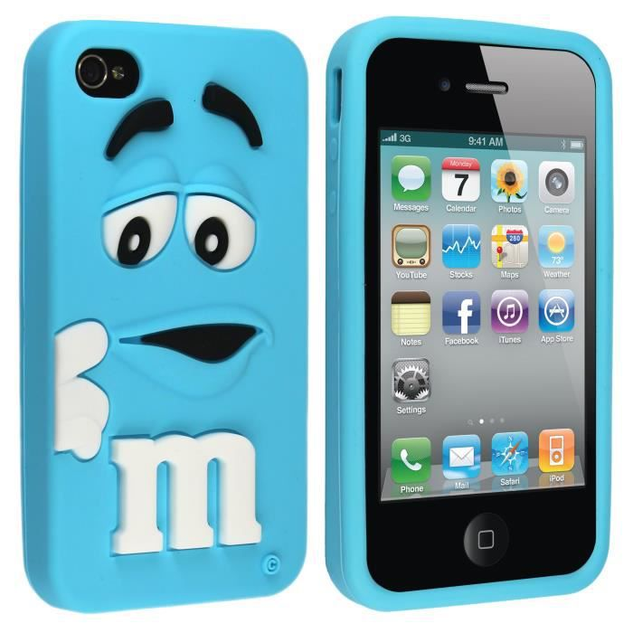 Apple iphone 4 4s etui housse coque m m beans silicone for Etui housse iphone 4