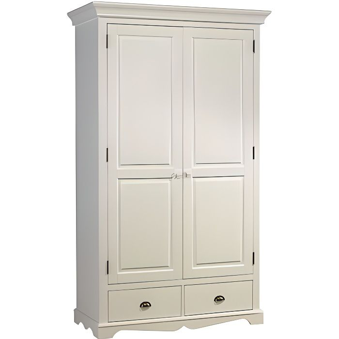 armoire blanche 2 portes avec penderie achat vente pas. Black Bedroom Furniture Sets. Home Design Ideas