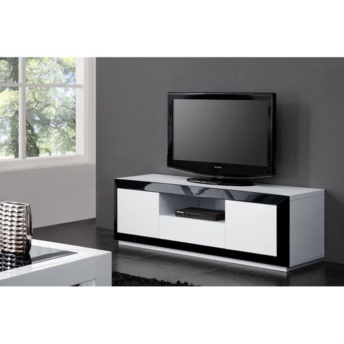 meuble tv design laque noir blanc haute brillance achat. Black Bedroom Furniture Sets. Home Design Ideas