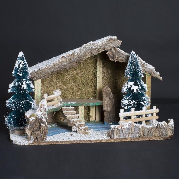 Crèche traditionnelle de Noël vide   Décor sapin   40 x 21 cm