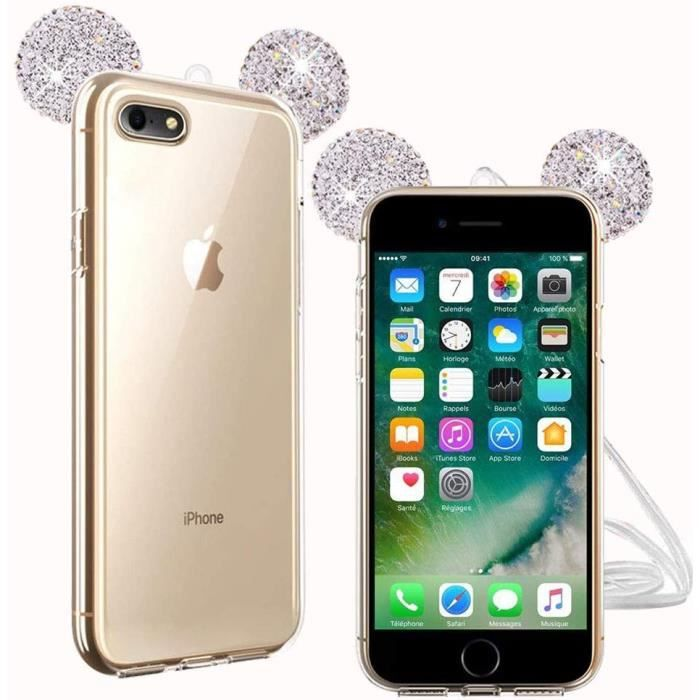 Fine Finet Coque iPhone 6-6s, Bling Strass Silicon