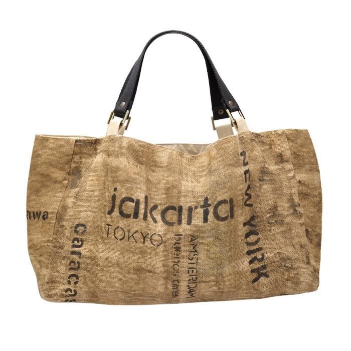 cabas beige toile de jute naturelle jakarta achat vente panier sac de plage 3663562136203. Black Bedroom Furniture Sets. Home Design Ideas