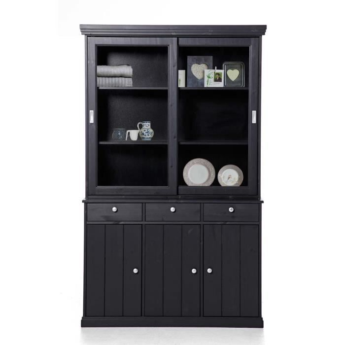 miliboo buffet vaisselier pin noir abaco achat vente buffet bahut abaco vaisselier. Black Bedroom Furniture Sets. Home Design Ideas