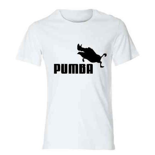 tee shirt parodie marque puma pumba t shirt personnalis humour fun marrant id e cadeau. Black Bedroom Furniture Sets. Home Design Ideas