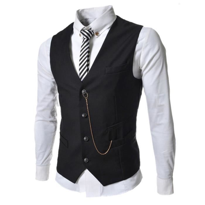 gilet hommes slim fit costume de mariage vest noir noir. Black Bedroom Furniture Sets. Home Design Ideas