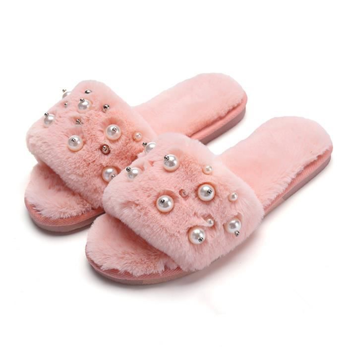 Chaussons Perles Femme 2018 Hiver Fluffy Peluche Chausson charmant Meilleure Qualité chaussure Taille 35-40