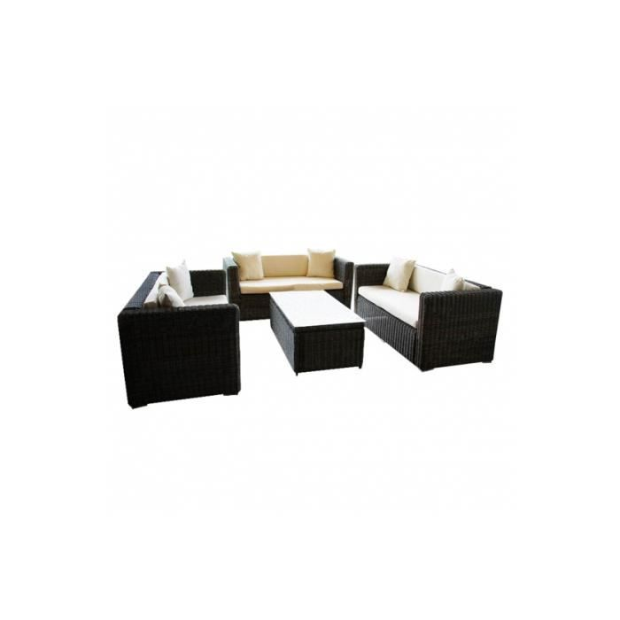 Canap en poly rotin salon de 3 fauteuils et une table for Canape et table pour salon de jardin daveport