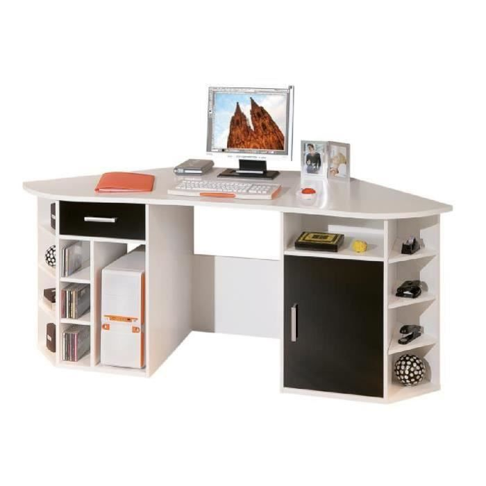 bureau d 39 angle fabri blanc achat vente bureau bureau d 39 angle fabri blanc mdf m lamin. Black Bedroom Furniture Sets. Home Design Ideas