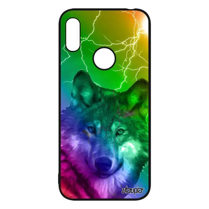 Coque Y6 2019 silicone loup arc en ciel telephone