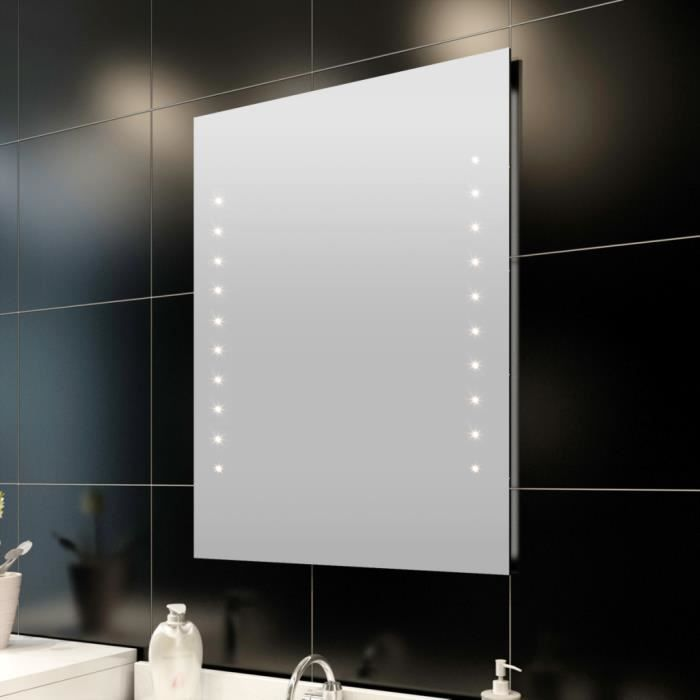 miroir de salle de bain avec clairage led 60 x 80 achat vente miroir cdiscount. Black Bedroom Furniture Sets. Home Design Ideas