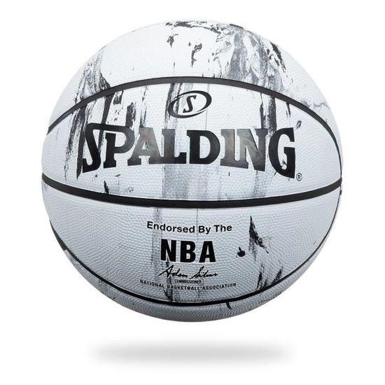 SPALDING Ballon de basket ball NBA Marble Bw Outdoor Noir et blanc Taille 7