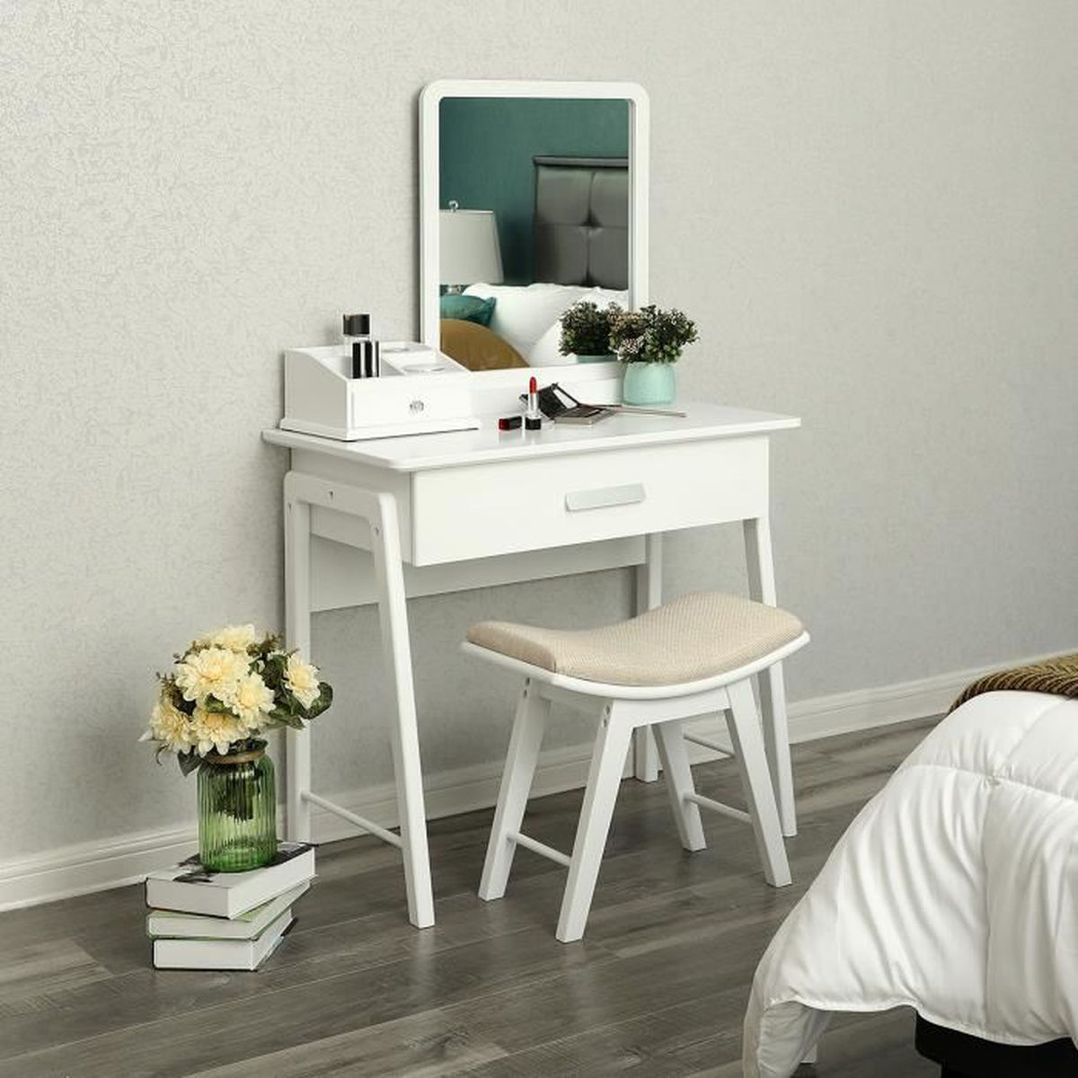 coiffeuse blanc achat vente coiffeuse blanc pas cher. Black Bedroom Furniture Sets. Home Design Ideas