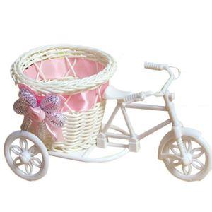 VASE - SOLIFLORE Panier de vélo tricycle fait main fleur en rotin p