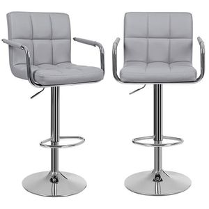 Lot De 2 Tabourets Bar Haut Chaise Simili Cuir PU Chrome Hauteur Reglable Grande Base F 41 Cm 572