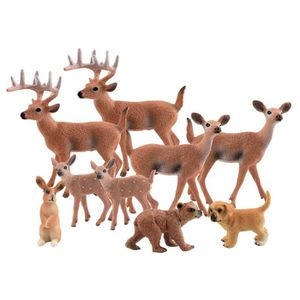 FIGURINE - PERSONNAGE 9Pcs Woodland Animals Set, Animaux de la Forêt Fig