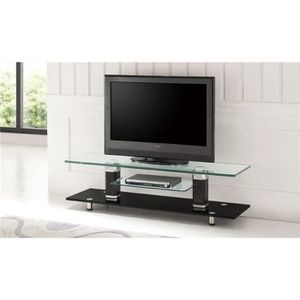 meuble tv design verre noir cristal achat vente meuble. Black Bedroom Furniture Sets. Home Design Ideas