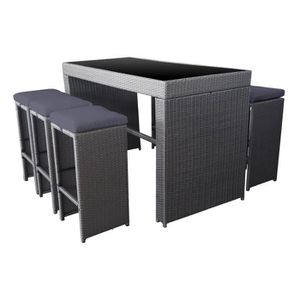 set mange debout pilat en r sine tress e grise 6 places achat vente salon de jardin mange. Black Bedroom Furniture Sets. Home Design Ideas