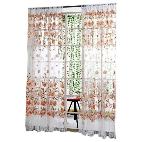 Lot de 2 Rideaux Voilages Blanc 140 cm x 175 cm Panneaux de Fen/êtres Voile de Fen/être avec Solide /à Oeillets pour Salon Chambre D/écoration