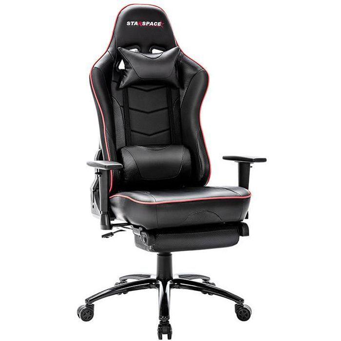 Chaise Gaming Noire de Bureau Confortable et Ergonomique avec Repose-Pieds, Oreiller et Support Lombaire - STARSPACE