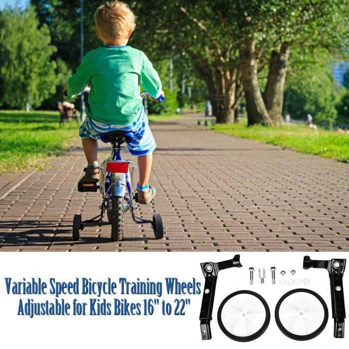 Roues d'entraînement de vélo à vitesse variable réglables pour enfants 16 -à 22- (noir)