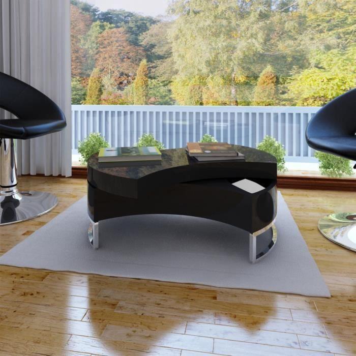 P58 Table basse pivotante en MDF noire brillante laquee