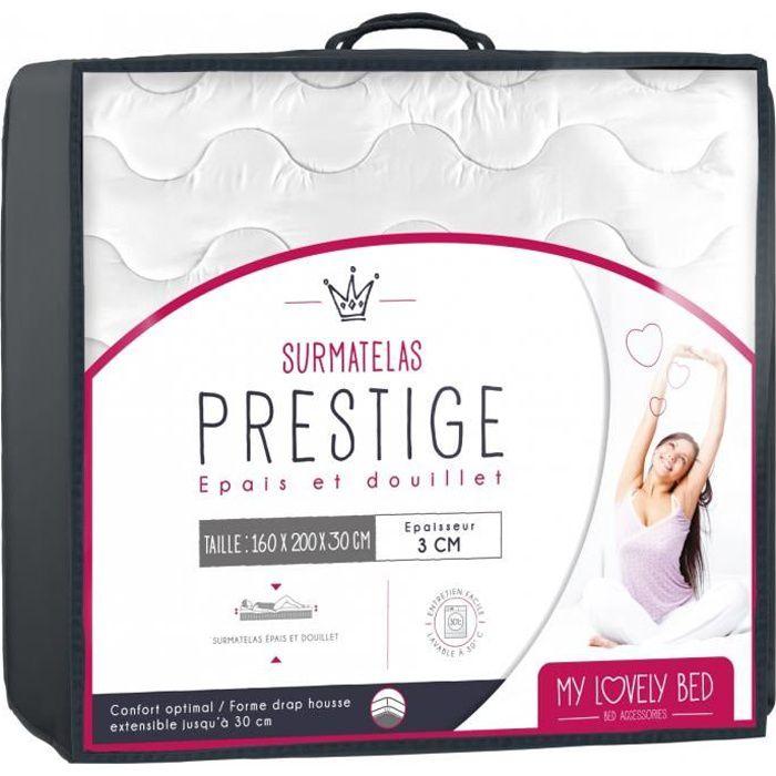 My Lovely Bed - SurMatelas Prestige 160x200 cm - Gonflant : Confort Moelleux - Epais et Douillet - Enveloppe 100% Coton - Lavable
