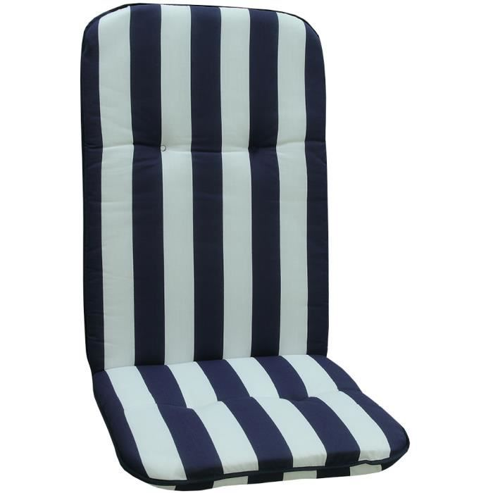 Coussin pour chaises d'extérieur Dossier Haut -Capri- 114x47x5 cm BLEU & BLANC - Remplissage De Mousse - Made in EU - ÖkoTex100