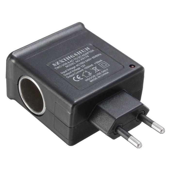 LR Prise Voiture Ac 220V Dc 12V 2 Usb Allume Cigare Chargeur Adaptateur Secteur Eu Plug - LRCYD821D1576