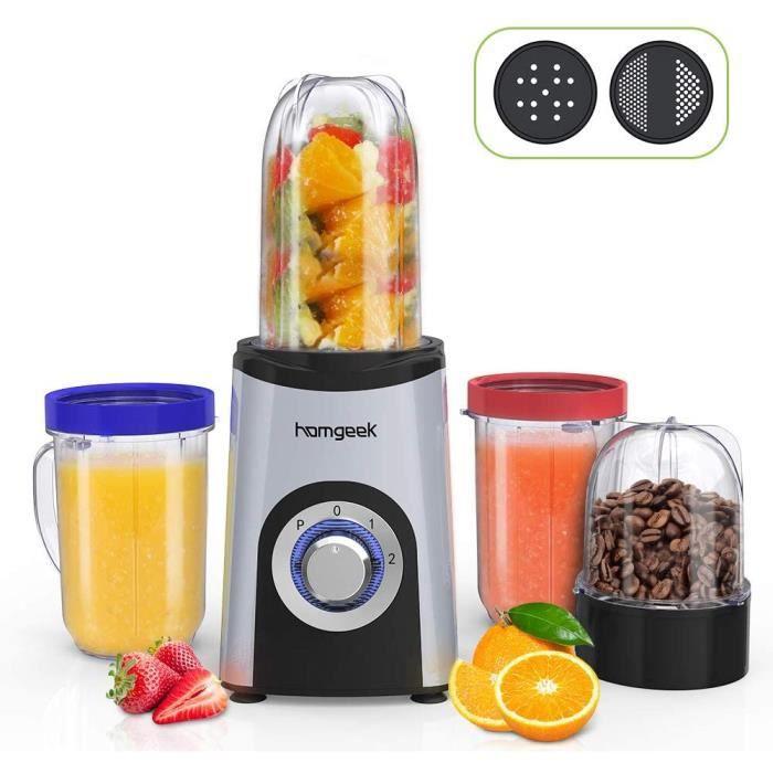 Blender Smoothie, Homgeek Mini Blender, Mixeur Multifonction avec 4 Bouteilles, 350W, 2 Vitesses, Appareil à Smoothie avec 2 types d