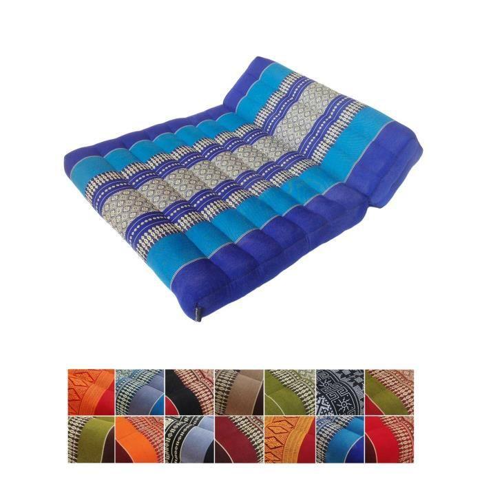 Coussin traditionnel thaï kapok pliable de méditation pour yoga ou Relaxation, Light Blue, Dark Blue