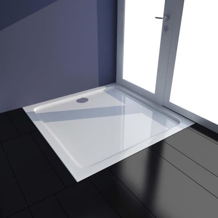 Magnifique Haute qualité Parfait - Receveur de douche ultra-plat Design moderne- Bac à Douche à Poser Bain -ABS Blanc 80x80 cmNEUF24
