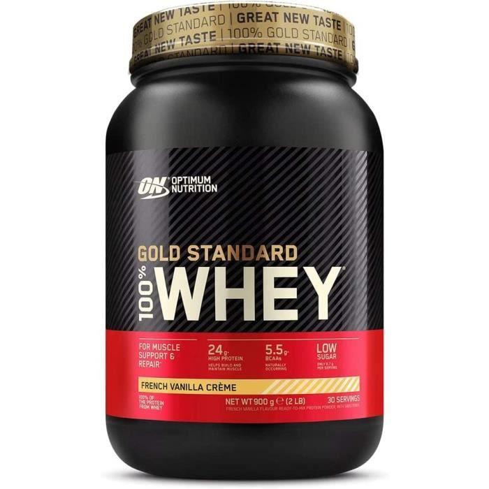 Optimum Nutrition Gold Standard 100% Whey Protéine en Poudre avec Whey Isolate, Proteines Musculation Prise de Masse, Crème Vanille,
